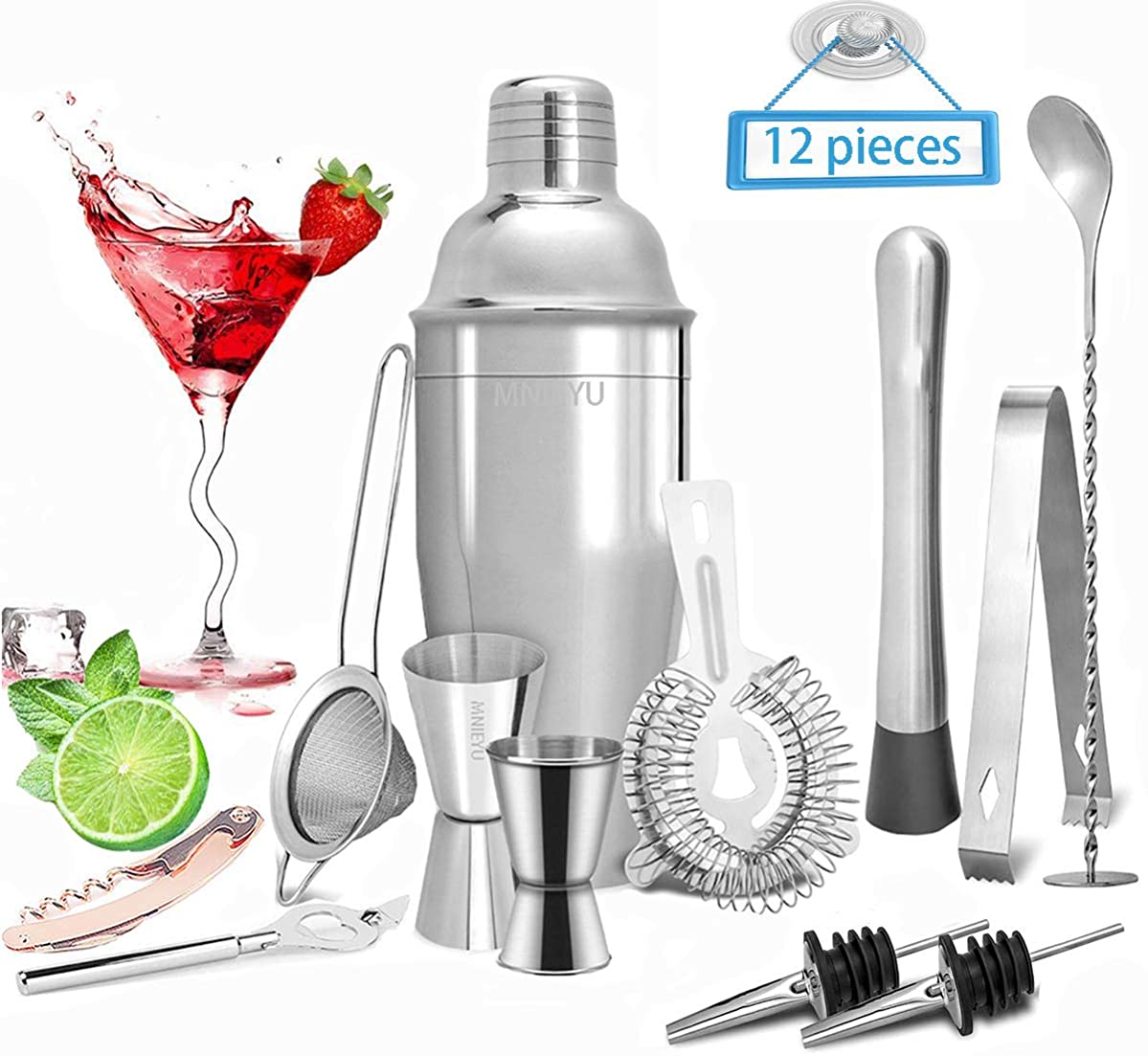 MNIEYU Bartender Kit: 12 Piece Bartender Kit Stainless Steel Cocktail Shaker- 25 Oz Martini Mixer With Strainer- Bar Tool Set For Home and Professional Bartending - Exclusive Cocktail Picks