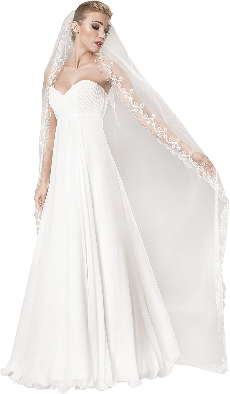 1 Tier Wedding Bridal Cathedral Veil 28  decorated with beads (White)