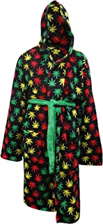 Underboss Men's Rasta Themed Ganja Weed Leaf Cozy Hooded Robe