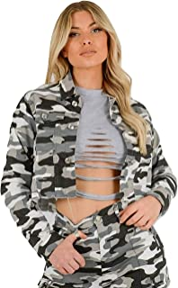 Momo&Ayat Fashions Ladies Camouflage Light Denim Cropped Jacket AUS Size 6-14