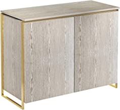 Two Door Sideboard - Weathered Oak With Brass Frame