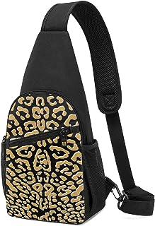PGTry Ooh La La! Leopardo dorado con blanco sobre negro bolsa de hombro ligera mochila para el pecho, bolsa cruzada, bolsa...