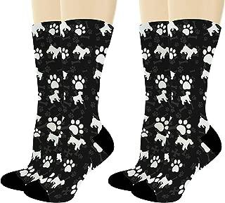 Dog Socks Mini Schnauzer Paw Socks Dog Breed Gifts Miniature Schnauzer Gifts Dog Novelty Crew Socks