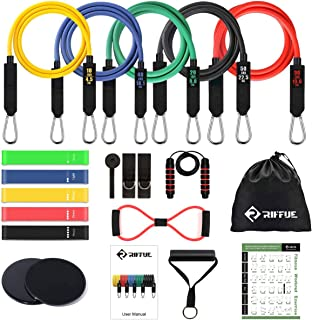 RIFFUE 5 Latex Resistance Bands Set, 5 Loop Hip Exercise Bands, Jump Rope, 2 Core Slider, Figure 8 Resistance Band for Hom...