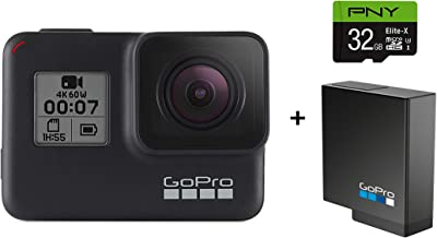 GoPro HERO7 Black Camera + Extra Rechargeable Battery + PNY Elite-X 32GB U3 microSDHC Card (Bundle) - Waterproof Digital Action Camera Touch Screen 4K HD Video 12MP Photos Live Streaming Stabilization