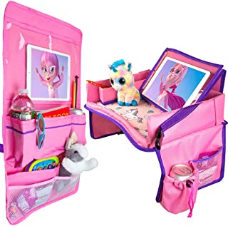 Kids Travel Tray and Backseat Organizer for Cars - Car Lap Tray for Toddlers and Back Seat Organizer - Waterproof and iPad Holder - Road Trip Essentials and Activities