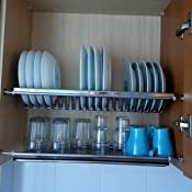 Warmiehomy Escurridor de Platos de Met/álico Porta Cubiertos para Cocina Blanco 39.5 x 24 x 15cm Escurreplatos de Platos con Bandeja de Goteo