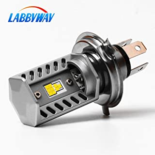 LABBYWAY H4 LED Bulb Super Bright Motorcycle Headlights Lamp High Low Beam Lights, Upgrade 9-CSP Chipsets 6500K Used for Suzuki Kawasaki BMW Yamaha Honda,Xenon White