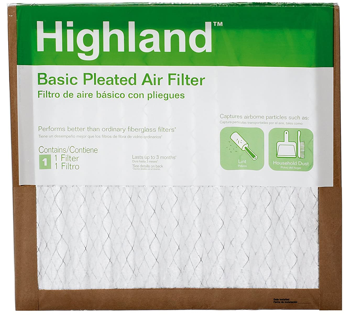 3M FBA11DC-6 Highland Basic Pleated Air Filter, 14