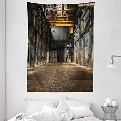 Amazon Com Ambesonne Industrial Tapestry Industrial Interior Of Old Factory Building Construction Spooky Warehouse Wall Hanging For Bedroom Living Room Dorm 60 X 80 Yellow Grey Home Kitchen