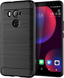 LiXiongBao Case for HTC U11 Eyes Black Soft TPU Silicon Luxury Brushed with Texture Carbon Fiber Design Lightweight Shockproof Rubber Bumper Protection Case Cover for HTC U11 Eyes