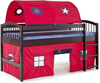 Dylan Espresso Junior Loft Bed with Red/Blue Tent and Playhouse