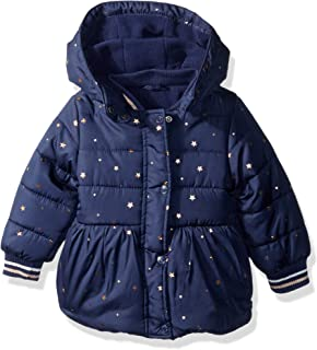Girls Printed Puffer Coat with Removable Hood