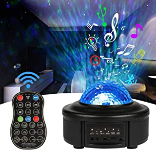 Innoo Tech Star Projector Night Light,Ocean Wave Projector 11 Colors LED Remote Control Projector Lamp Built-in Bluetooth ...