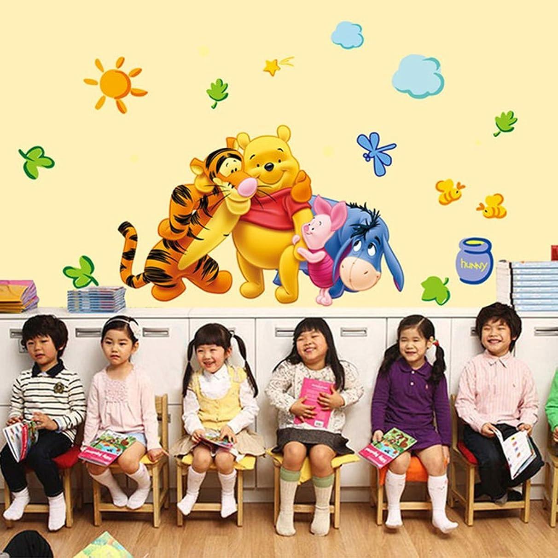 ufengke home Winnie The Pooh & Friends Wall Art Stickers Kids Includes Pooh, Piglet, Eeyore & Tigger Decorative Removable DIY Vinyl Wall Decals Nursery Room, Children's Bedroom, Playroom Mural