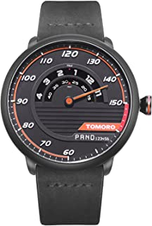 TOMORO Mens Creative Racing Design Black Leather Quartz Analog Sports Watches 1017