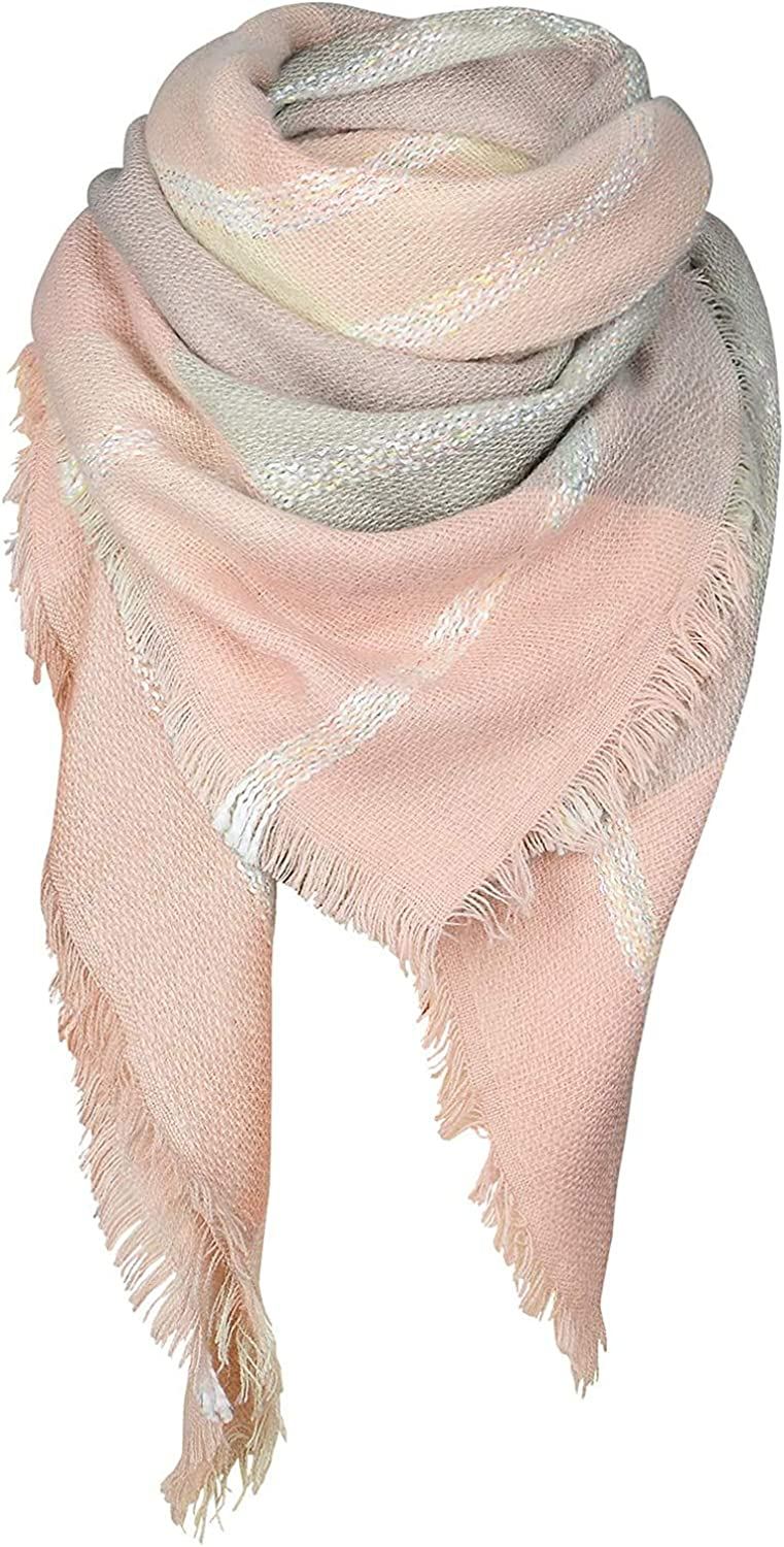 Ladies Fashion Scarf Ladies Fashion Scarf Plaid Scarf MKLP Tassel Scarf Winter Ladies Scarf Large Warm Shawl Plaid Scarf Large Shawl Keep Warm and Prevent Cold For Women