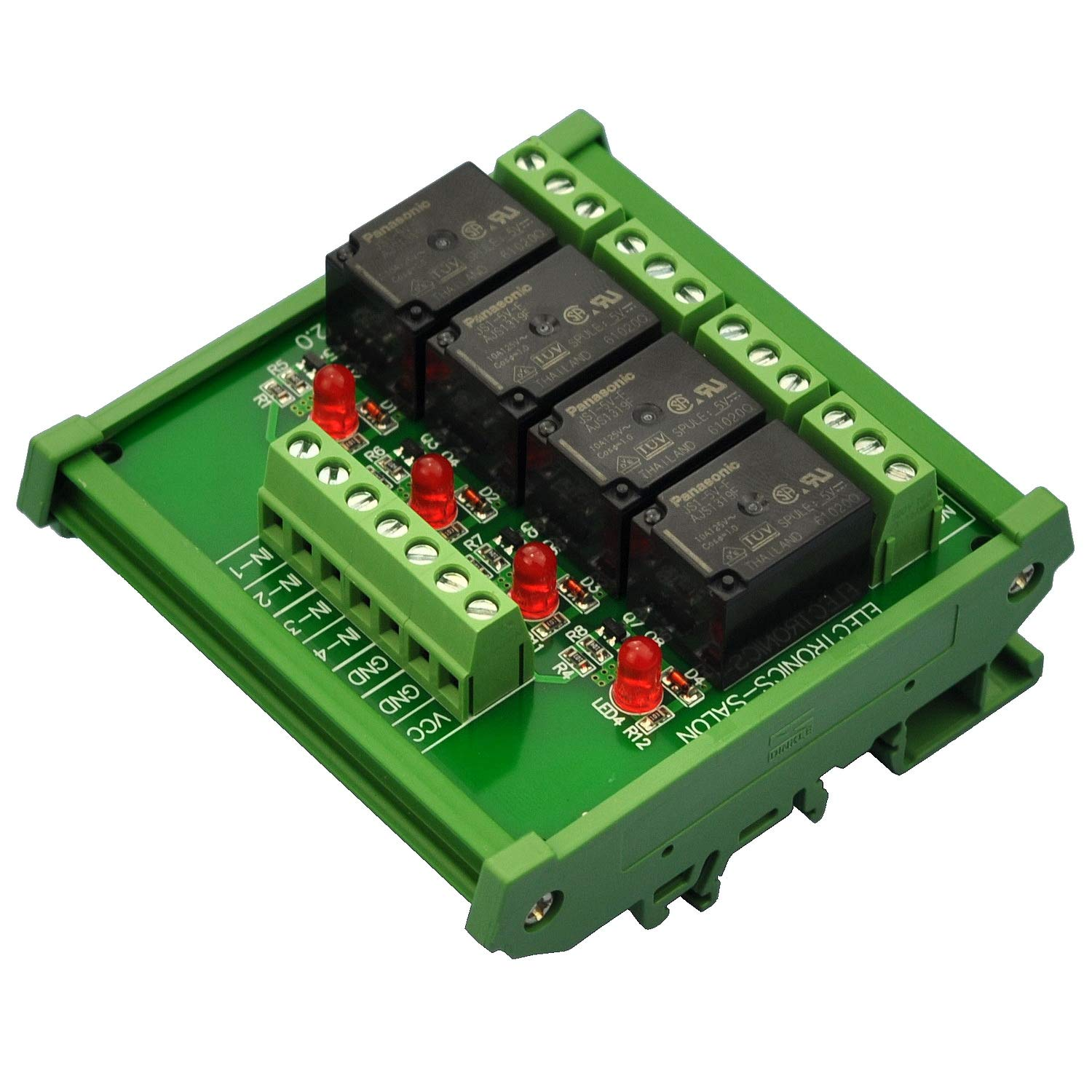 Electronics-Salon DIN Rail Mount 4 SPDT Power Interf Los Angeles Mall 10Amp Relay NEW before selling