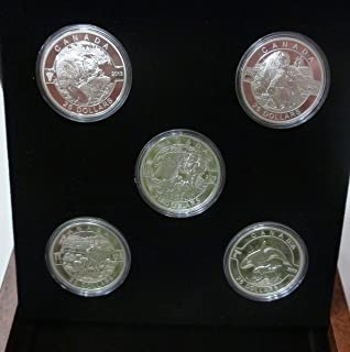 2013 Mint Proof Set $25 FINE SILVER 5-COIN SET - O CANADA SERIES - BEAVER - POLAR BEAR - WOLF - CARIBOU - ORCA Mint State