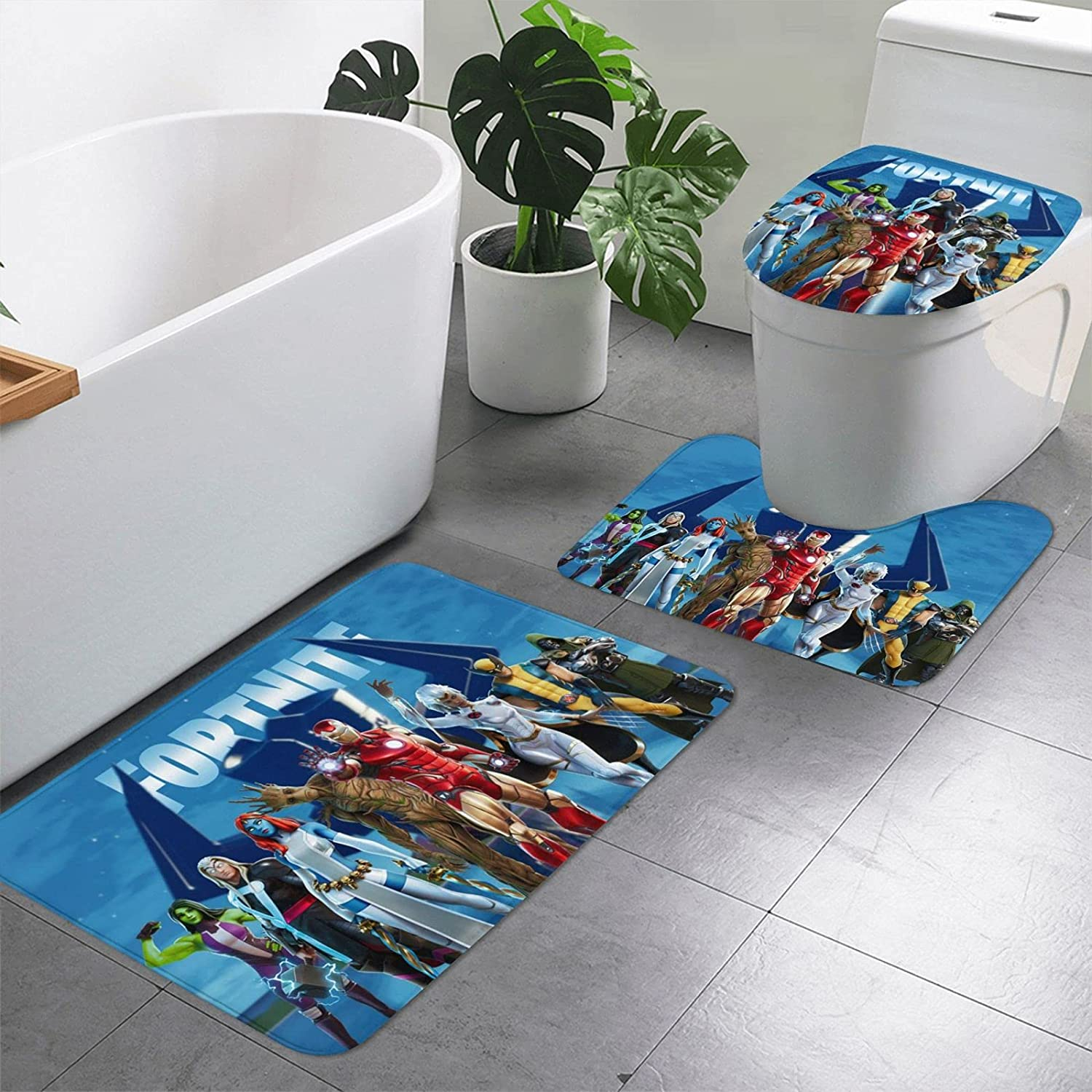 Fortinite Heros Non Slip Bath Mat 3-Pieces Limited time sale Ranking TOP16 Absorbent Set Ru