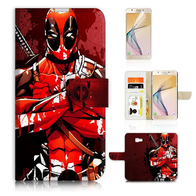 (For Samsung J7 Prime / J7 V / J7 Perx / J7 2017 / J7 Sky Pro / Galaxy Halo ) Flip Wallet Style Case Cover, Shock Protection Design with Screen Protector - B31016 Deadpool