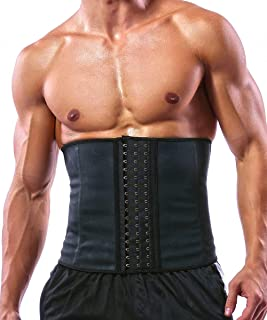 GainKee 100% Latex Men Waist Trainer Corsets with Steel Bone Sweat Belt Sauna Suit for Fitness
