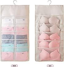 Closet Hanging Organizer with Mesh Pockets & Rotating Metal Hanger,Dual Sided Wall Shelf Wardrobe Storage Bags,Oxford Cloth Space Saver Bag for Bra Underwear Underpants Socks (Beige, Big 15 Pocket)