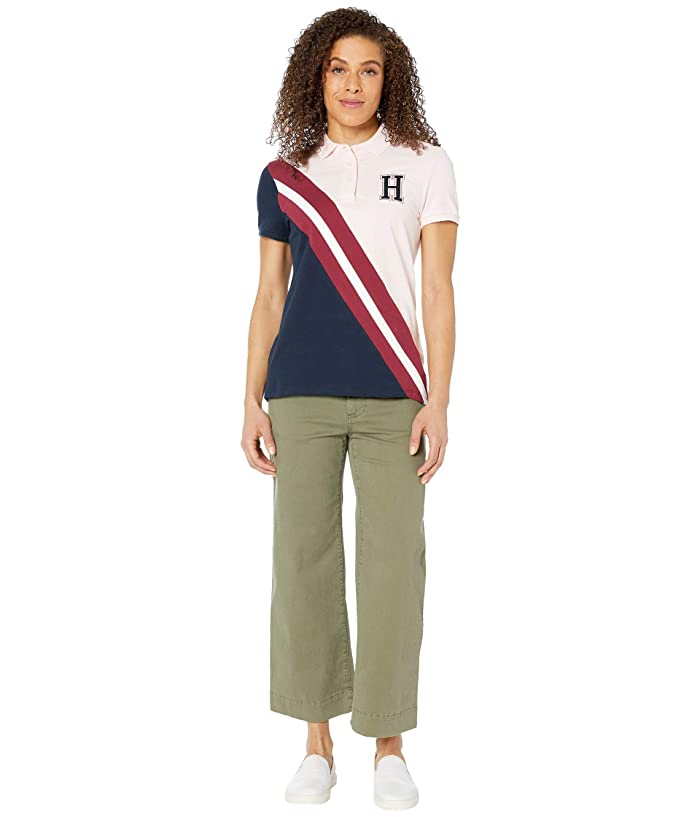 Tommy Hilfiger Adaptive  Polo Shirt with Magnetic Buttons (Blushing Bride/Core Navy/Tango Red) Womens Clothing
