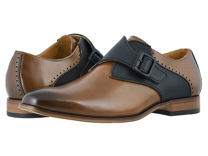 Mens Vintage Style Shoes & Boots| Retro Classic Shoes Stacy Adams Sutcliff Plain Toe Monk Strap Cognac Mens Shoes $83.38 AT vintagedancer.com