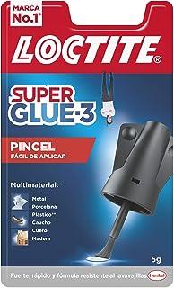 Loctite Super Glue-3 Pincel, pegamento transparente con pincel aplicador, adhesivo universal de triple resistencia, con fu...