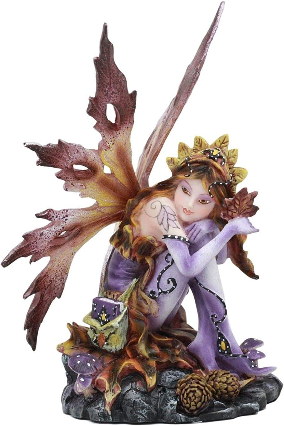 Purple Fairy Sitting by Pine Cones Discount Jacksonville Mall mail order Figurine Decorati Collectible