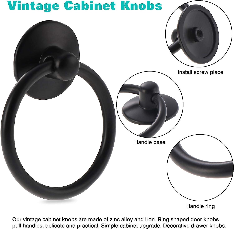 Kyrio antiguos armario y aparador de un solo agujero redondos 12 pomos de anillo de armario vintage marr/ón para caj/ón para puerta