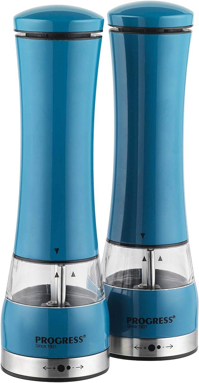 10 x 6.5 x 21.5 cm macinasale e macinapepe Elettrico con Luce PROGRESS BW05375BL Blue Acrilico