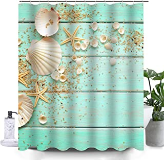 Uphome Beach Fabric Shower Curtain, Aqua Seashell and Starfish on The Coastal Cloth Shower Curtain Heavy Weighted Waterproof, Batower Curtain Heavy Weighted Waterproof, Bathroom Sea Decorations, 72x72