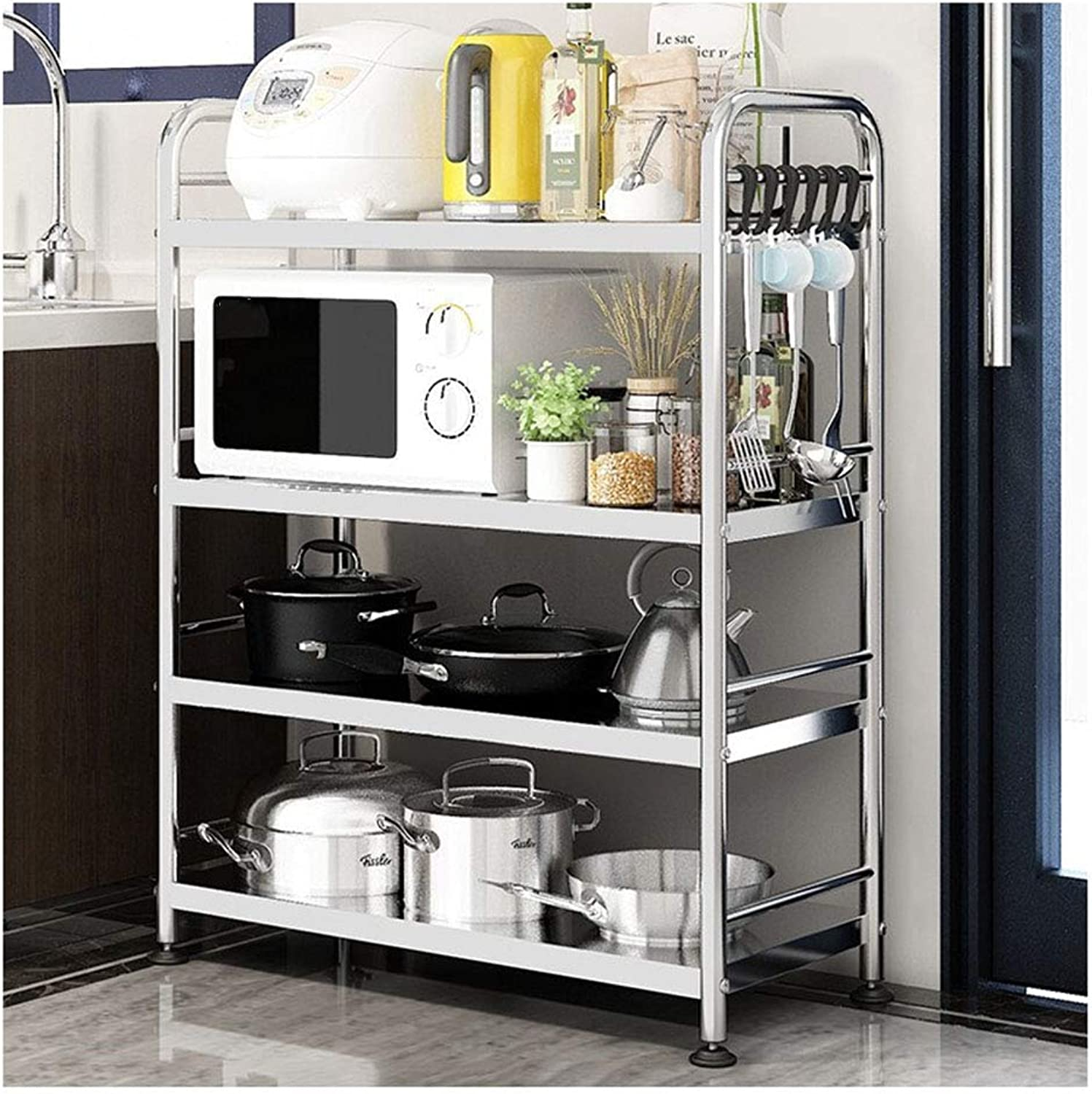 Kitchen Microwave Oven Rack Oven Rack 4-Layers Stainless Steel Kitchen Storage Rack-40 60 80x35x100cm Organisation (Size   Width-80cm)