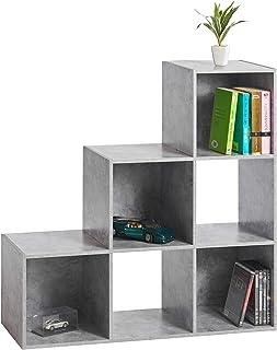 Cancelleria e prodotti per ufficio Keinode libreria in Legno Ladder libreria 4vani portaoggetti organizzatore unità Moderno mensola per armadi Permanente scaffale per Camera da Letto Soggiorno Ufficio 147x 42x 39cm Nero