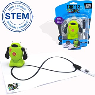 MukikiM Tracerbot - Green – Mini Inductive Robot That Follows The Black Line You Draw. Fun, Educational, & Interactive Stem Toy with Limitless Ways to Play! Promotes Logic & Creativity Training