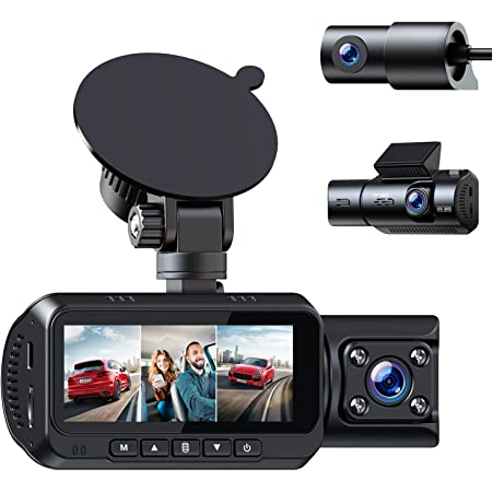 Amazon Com Toguard 3 Channel 4k Dash Cam For Cars W Gps Logger 1080px3 Front Inside Cabin And Rear Triple Car Camera W Ir Night Vision Dual Dash Camera Support 256gb Sd Card Electronics