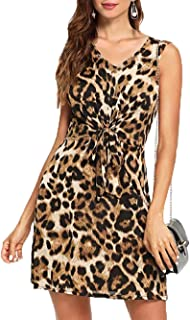 Women's Leopard Print Bow Tie Knot Front Sleeveless Leopard V Neck Bodycon Cut Out Empire Waist Elastic Mini Dresses