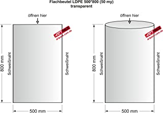 500x Flachbeutel Folienbeutel Transparent 25 my St/ärke 500 x 600 mm LDPE