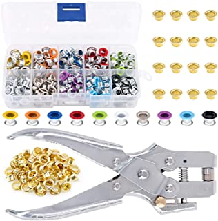 Swpeet 300Pcs 10 Colors 3/16 inch Metal Grommets Kit and 1Pcs Eyelet Hole Punch Pliers with 100Pcs Gold Grommets, Metal Ey...