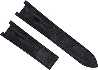 20MM GENUINE LEATHER STRAP WATCH BAND FOR 38MM CARTIER PASHA 1032 BLACK TQUALITY