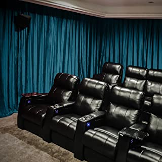 ChadMade Velvet Blackout Lined Home Movie Theater Curtain Drapes Panel, Pinch Pleated 150W x 108