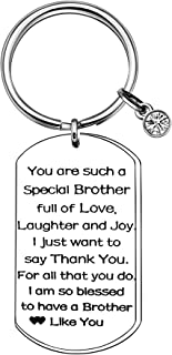 CAROMAY Brother Key Chain Rings Birthstone Dog Tag Keychain Family Appreciate Inspiration Birthday Love Gift from Sister Brother
