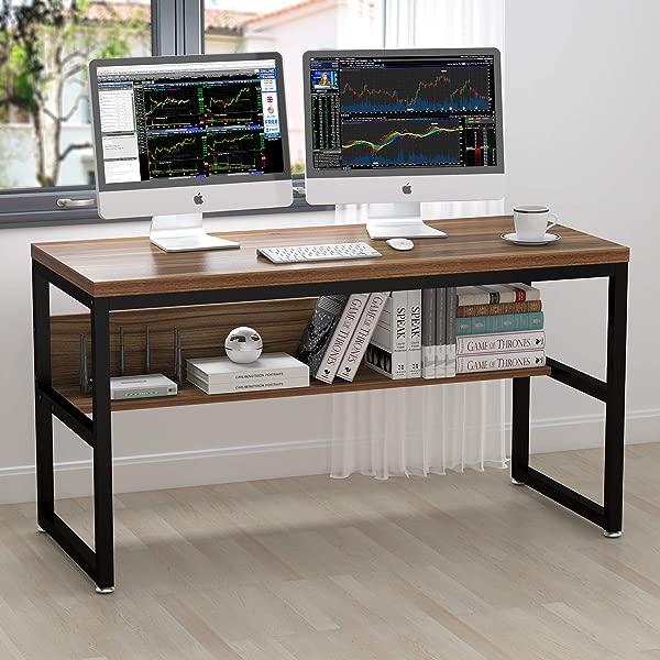 ELEGANT 55 Computer Desk With Bookshelf Metal Desk Oak Brown Black Frame