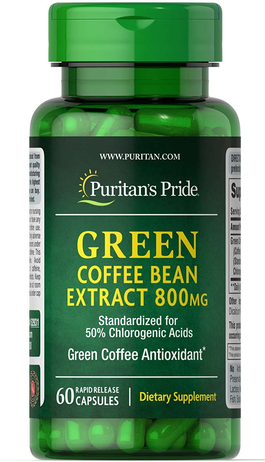 low-pricing Puritan's Pride Green Coffee Bean Capsules Extract sold out mg-60 800
