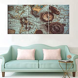 Wall Pictures for Living Room Old World Map Paintings Antique Vintage Artwork 3 Piece Prints Wall Art on Canvas Contemporary House Decor Wooden Framed Gallery-Wrapped Ready to Hang(48''Wx24''H)
