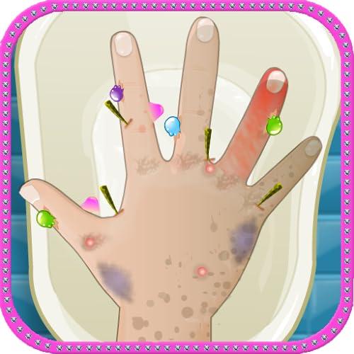 Médico cuidado de la mano