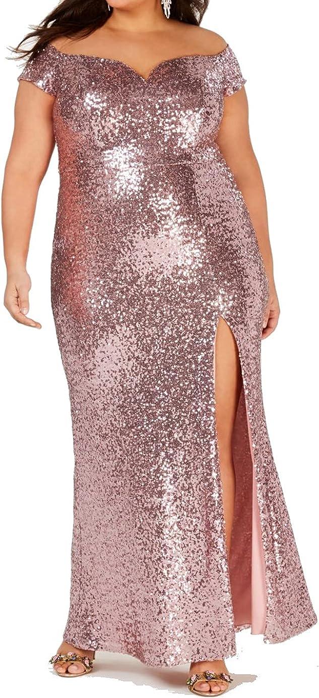 B. Darlin Womens Plus Sequined Split Hem Evening Dress