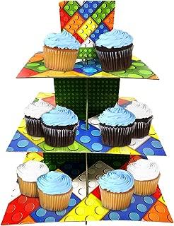 Brick Cupcake Stand & Pick Kit, Brick Party Supplies, Brick Decorations, Birthdays, Cake Decorations, Kids Birthdays, 3 Tier Cardboard